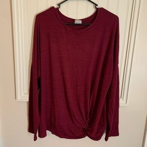 A New Day Burgundy Long Sleeve Top